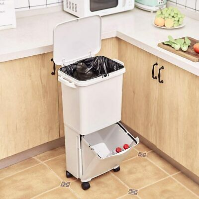 38L Large Capacity Trash Double-deck Cover Classified Dustbin Storage Bucket Gar