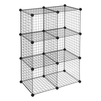 6-Cube Wire Shelves Storage Net Cabinet DIY Metal Stackable Shelf book clothes t