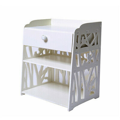 White Carved Bedside Table Drawer Hallway Decor Shelving Rack Storage Organizer