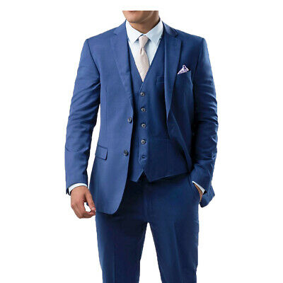 Mens 3 Piece Fade Royal Blue Suit Slim Fit Jacket Waistcoat Trouser any Occasion