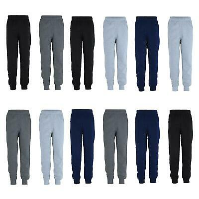 Kids Pants Plain Boys Tracksuit Bottoms Girls Fleece Trousers Bundle (Pack of 2)