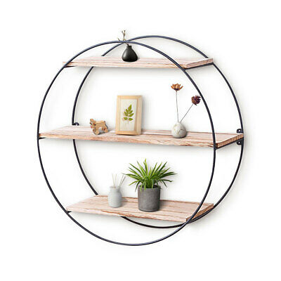 Round Wall Unit Retro Industrial Style Wood Metal Wall Rack Book Shelf Storage H