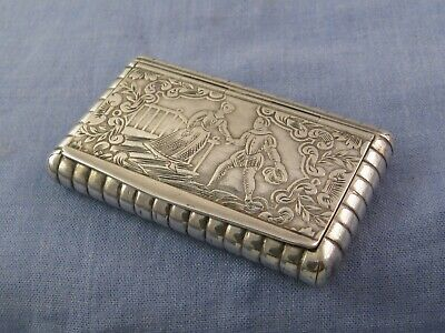 FRENCH SILVER ANTIQUE SNUFF BOX PICTORIAL EARLY 1800s 19TH CENTURY POCKET CASE