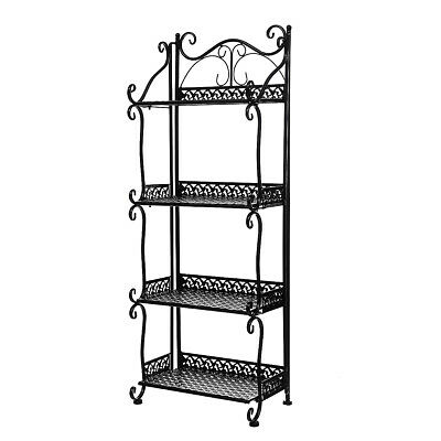 Black 4 Tier Standing Shelves Shelving Unit Kitchen Storage Rack