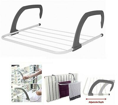 5 Rail Bar Radiator Towel Clothes Folding 3m Airer Dryer Drying Rack Holders