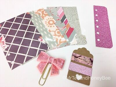 Filofax Pocket Planner Organiser 6 Tab Dividers Plus Extras - Plum Butterfly