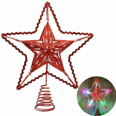 Blissun 12-Inch Red Star Treetop, 15 Multi-Color Light Christmas Tree Topper, Tw