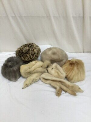 Small Job Lot Group Bundle of Vintage Fur Accessories - Hat - Scarf - Collars