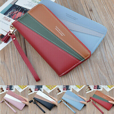 Phone Holder Case Clutch Handbag Women Purse Card Long Zip Ladies PU Wallet