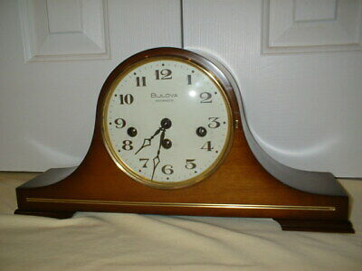 Bulova Westminster Chime Tambour Mantel Clock Runs w/ New Hermle German Movement