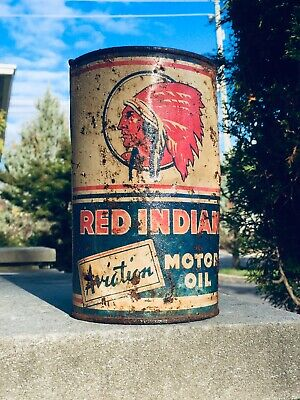Rare Vintage Red Indian Aviation Airplane Motor Oil 1 Quart Metal Can Sign
