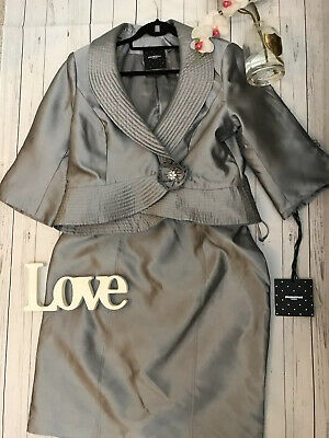 Pronovias UK 18 silver skirt suit Mother of the Bride stunning embellished races