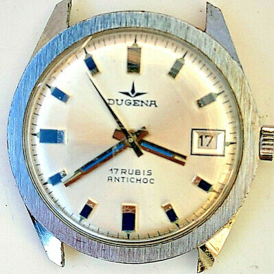Vintage Dugena Antichoc 17 Rubis Men Swiss Wristwatch Rare German Retro Old