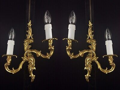 Beautiful PAIR of Vintage French Brass Rococo Style 2 Arm Wall Sconces Lights