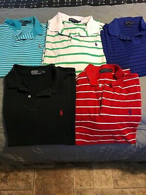 Mens POLO RALPH LAUREN POLO SHIRTS Lot of 5 Stained  NEEDS WASHED 4 XL & 1 2XL