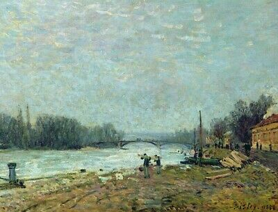 Alfred Sisley The Seine At Suresnes Bridge Print on Canvas Painting Giclee Repro