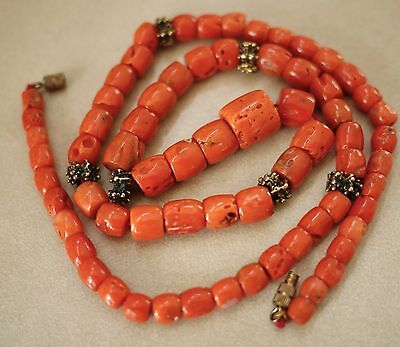 Vtg Antique Victorian Salmon Pink Red Old Coral Beaded Necklace 51g 1.8oz 珊瑚