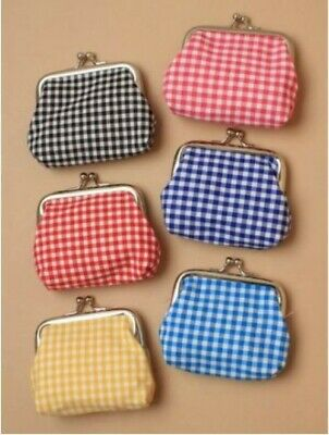 Girls Childrens Gingham Check Pattern Snap Coin Purse Blue Red Black Brand New