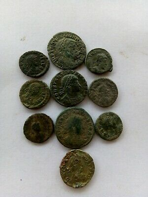 003.Lot of 10 Ancient Roman Bronze Coins,Uncleaned