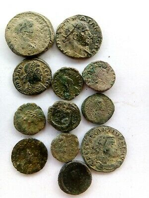 005.Lot of 12 Ancient Roman Bronze Coins,Uncleaned