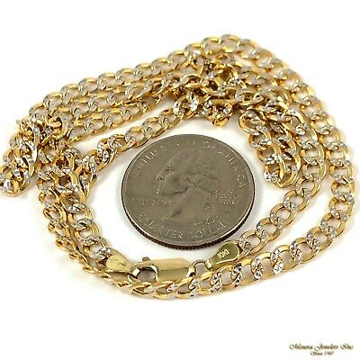 """22"""" 10K yellow & white gold CUBAN Link 4MM Pendant Chain Necklace 8.6g (r21 21)"""