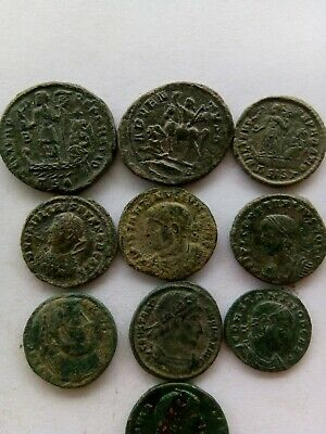 012.Lot of 10 Ancient Roman Bronze Coins,Very Fine
