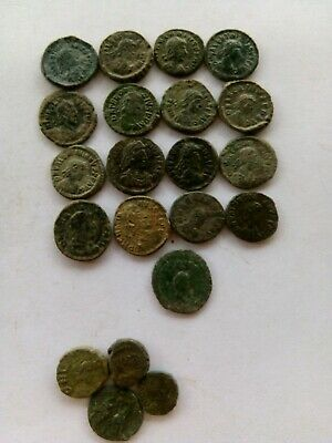 014.Lot of 21 Ancient Roman Bronze Coins AE4,Leo,Arcadius,Valentinian + 4 Coins