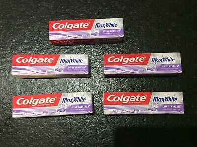 5 x Colgate Max White Shine Crystals Mint Gel Toothpaste | 5 x 75ml | Free Post