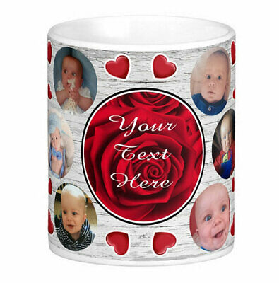 Personalised Mug 10 Photo Collage Add Any Text Mother Father Gift Tea Coffee Cup