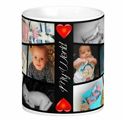 Personalised Mug 12 Photo Collage Add Any Text Mother Father Gift Tea Coffee Cup