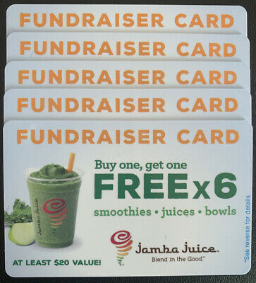 LOT OF 5 - Jamba Juice BOGO Cards (6 BOGOs per card)