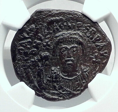 PHOCAS Authentic Ancient 602AD Follis Genuine Medieval Byzantine Coin NGC i81326