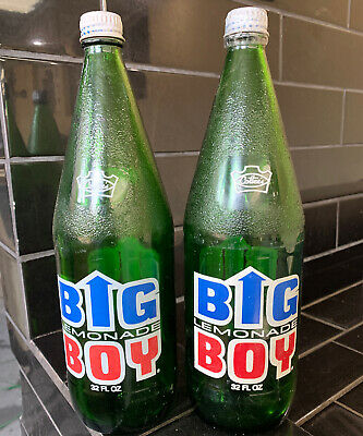 SET OF 2 X COTTEE'S BIG BOY Vintage soft Drinks Bottles pyro ceramic Label