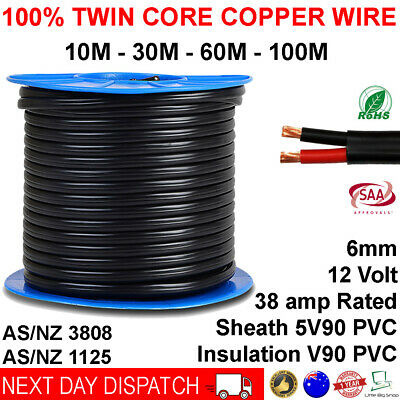 6mm Twin Core Automotive Battery Copper Cable Dual 2 Wire 12v 10 30 60 100 Metre