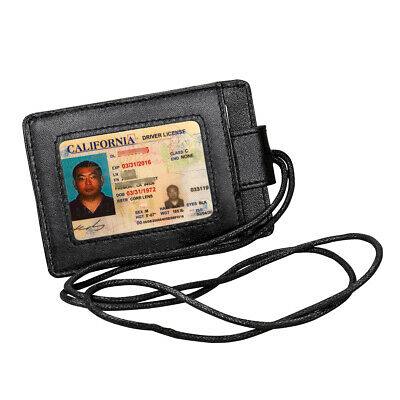 ID Passport Card Holder Name Tag Retractable Badge Black Leather Clip Work New
