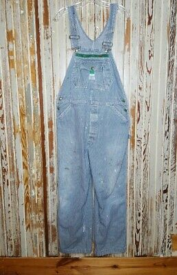 Vintage Liberty Denim Striped Overalls USA Men's Distressed Paint Stains 36x28