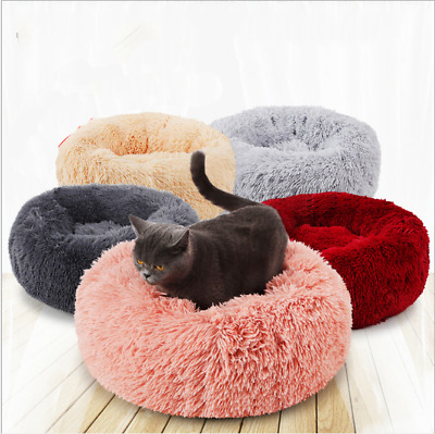 Large Comfy Calming Dog Cat Bed Round Warm Soft Plush Pet Bed Marshmallow Bed XL