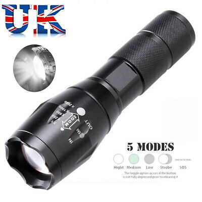 HIGH POWER MILATRY TACTICAL LED TORCH FLASHLIGHT 1000 x ZOOM- 5 MODES UK STOCK