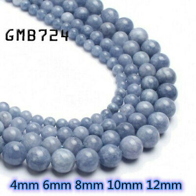 Natural Gemstone Angelite Stone Beads for Jewelry Making Round Loose Beads 15''