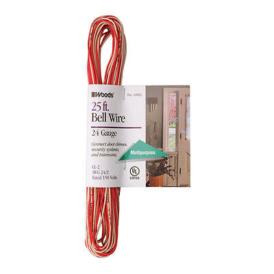 Woods 25 ft. 24/2 Copper Bell Wire Red/White