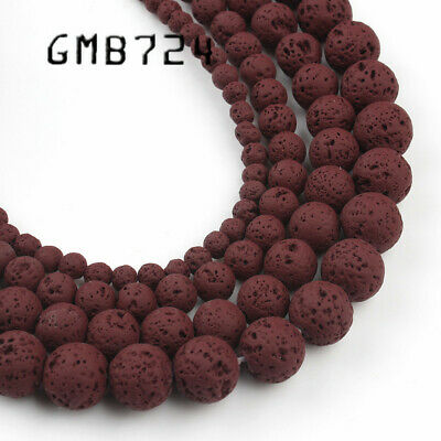 4/6/8/10mm Natural Wine Red Hematite Lava Stone Round Bead Spacer Loose Beads