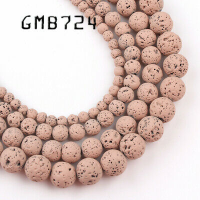 4/6/8/10mm Natural Bare Pink  Hematite Lava Stone Round Bead Spacer Loose Beads