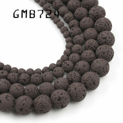 4/6/8/10mm Natural Beown Hematite Lava Stone Round Bead Spacer Loose Beads