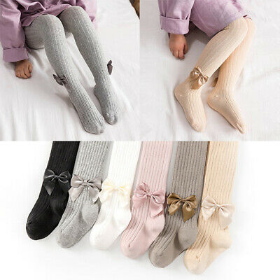 Baby Kids Girls Tights Bows Plain Pantyhose Opaque Socks Tights Age 0-8Years