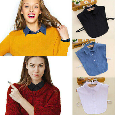 US Detachable Peter Pan Women Lapel Shirt Fake False Collar Choker Necklace
