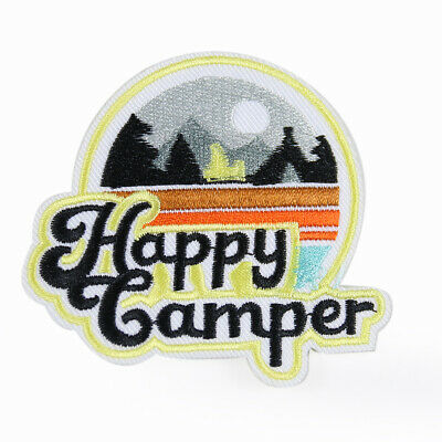 Happy Camper Vacation Outdoors Embroidery Applique Iron On Patch DIY Sew Badge