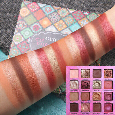 16 Colors Matte Pearlescent Glitter Eyeshadow Pigmented Palette Shimmer Makeup*