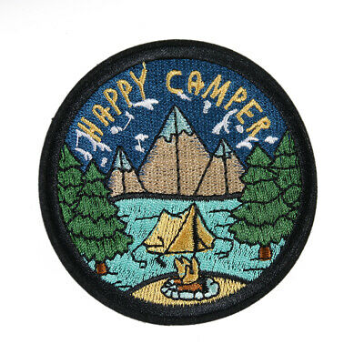 Happy Camper Embroidered Vacation Outdoors Sewing Iron On Patch DIY Badge Fabric