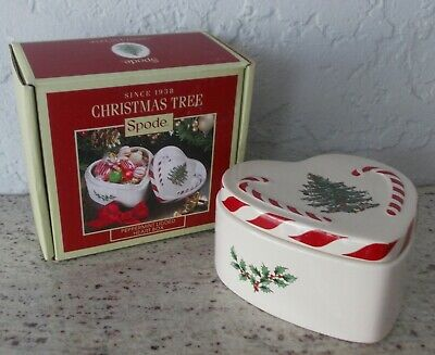 Nib Spode Portmeirion Christmas Tree Peppermint Lidded Heart Box