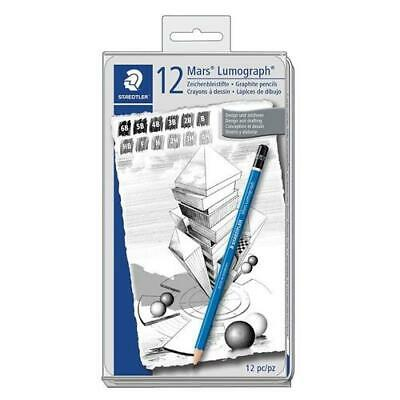 STAEDTLER Mars Lumograph Tin of 12 Pencils (6B to 4H) for Design and Drafting